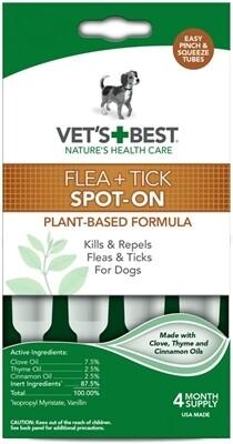 Vet's Best - Tratamiento para 4 meses 100% Natural contra pulgas y garrapatas para perros