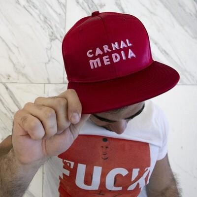 Carnal Media Hat in Red Satin