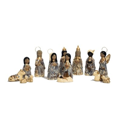 Mexican Traditional Large Clay Nativity Set
