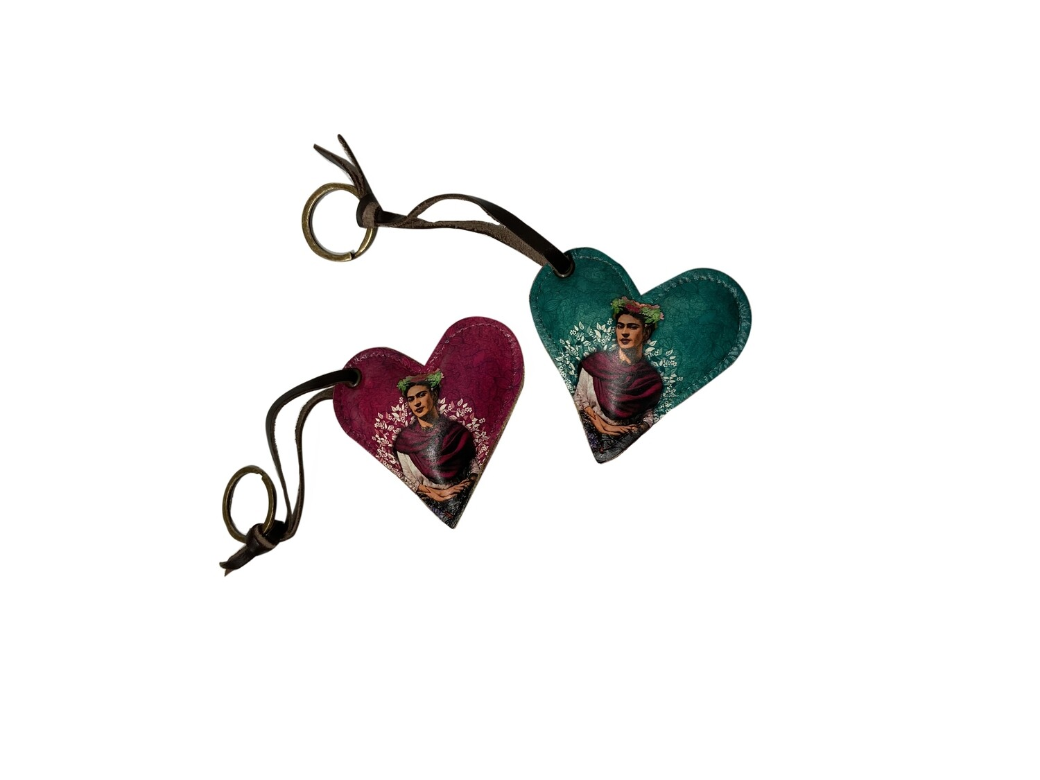 Mexican Frida Heart Leather Keychain