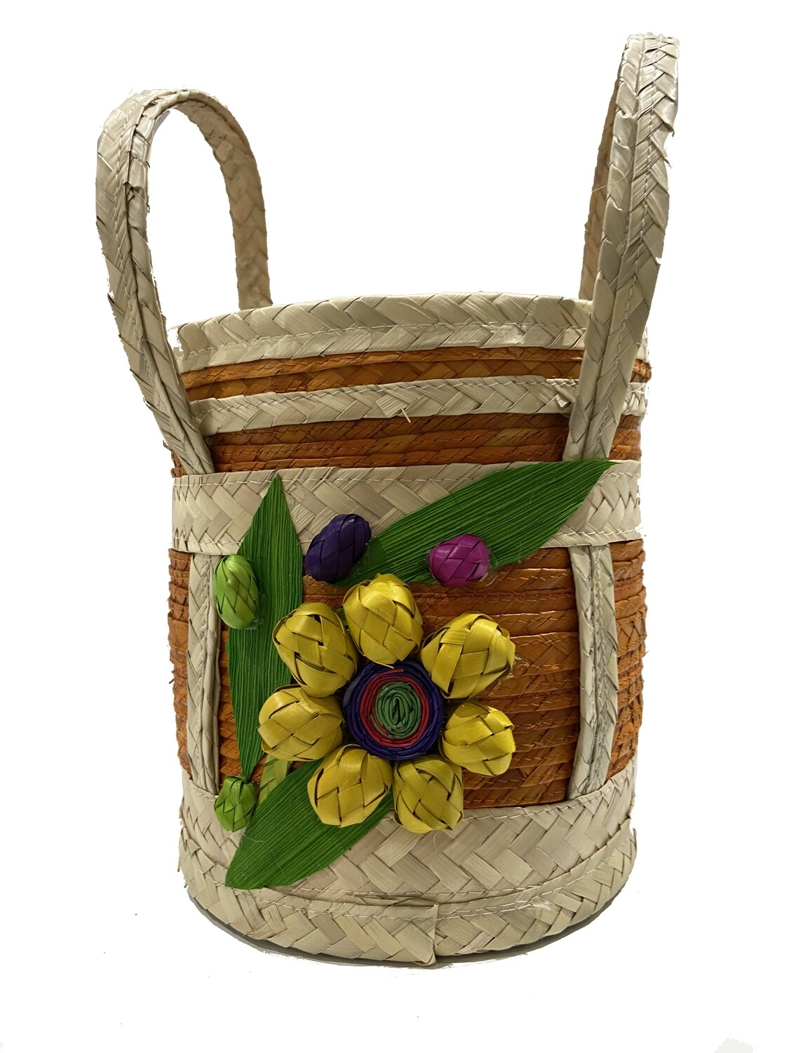 Mexican Palma Flower Basket with Lid