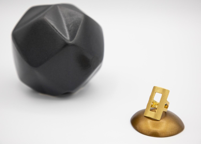 Brazilian Brushed Gold-Plated Rectangular Adjustable Ring