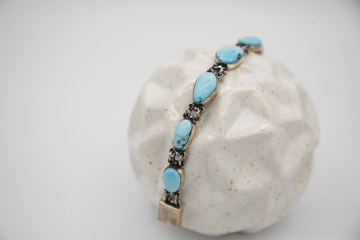 Mexican Oaxacan SS Turquoise Bracelet
