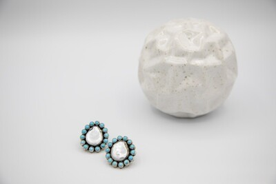 Mexican Oaxacan Mother Pearl and Turquoise Earrings
