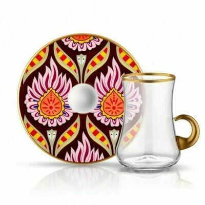 LUXURIOUS TURKISH TEA GLASS SET FOR SIX, FLORAL