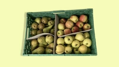 Caisse de pommes et poires de Saxon