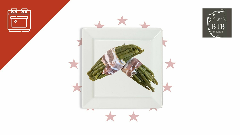 Fagots de haricots verts lardés