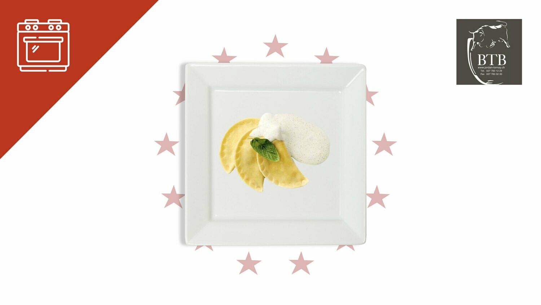Mezzelune au fromage à raclette, crème citronnée