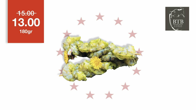 Brochette de crevettes marinées à l'ail des ours