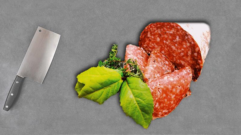 Salami camembert tranché