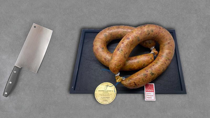 Saucisse aux poireaux labellisé marque Valais