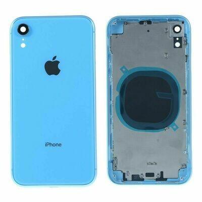 iPhone XR Backglass /  Mittelrahmen + Tasten-Set - Blau
