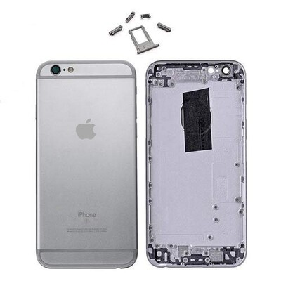 iPhone 6P Backglass /  Mittelrahmen + Tasten-Set - Schwarz