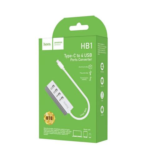 Hoco HB1 Type C USB-Hub 4 Ports USB 2.0-Aufladung und Datensynchronisation