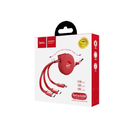 Hoco U50 3-in-1 einziehbar Ladedatenkabel Rot