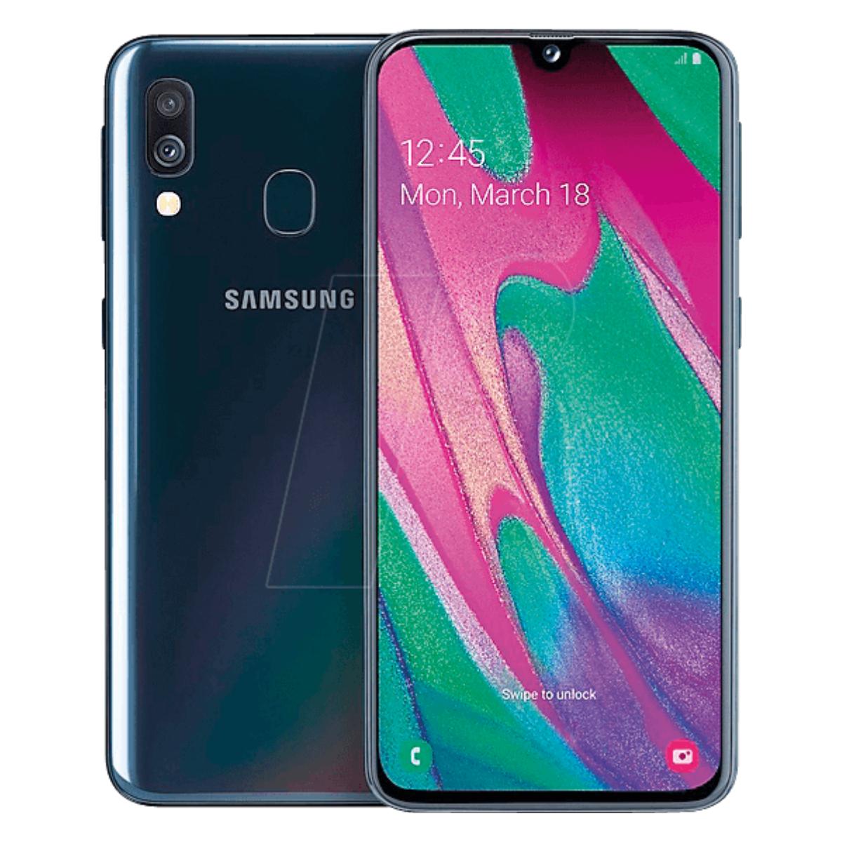 Sim Free Samsung A40 64GB Dual Sim Mobile Phone – Black