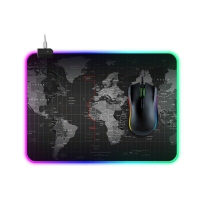 Computer World Map Pattern Illuminated Gaming Mouse Pad