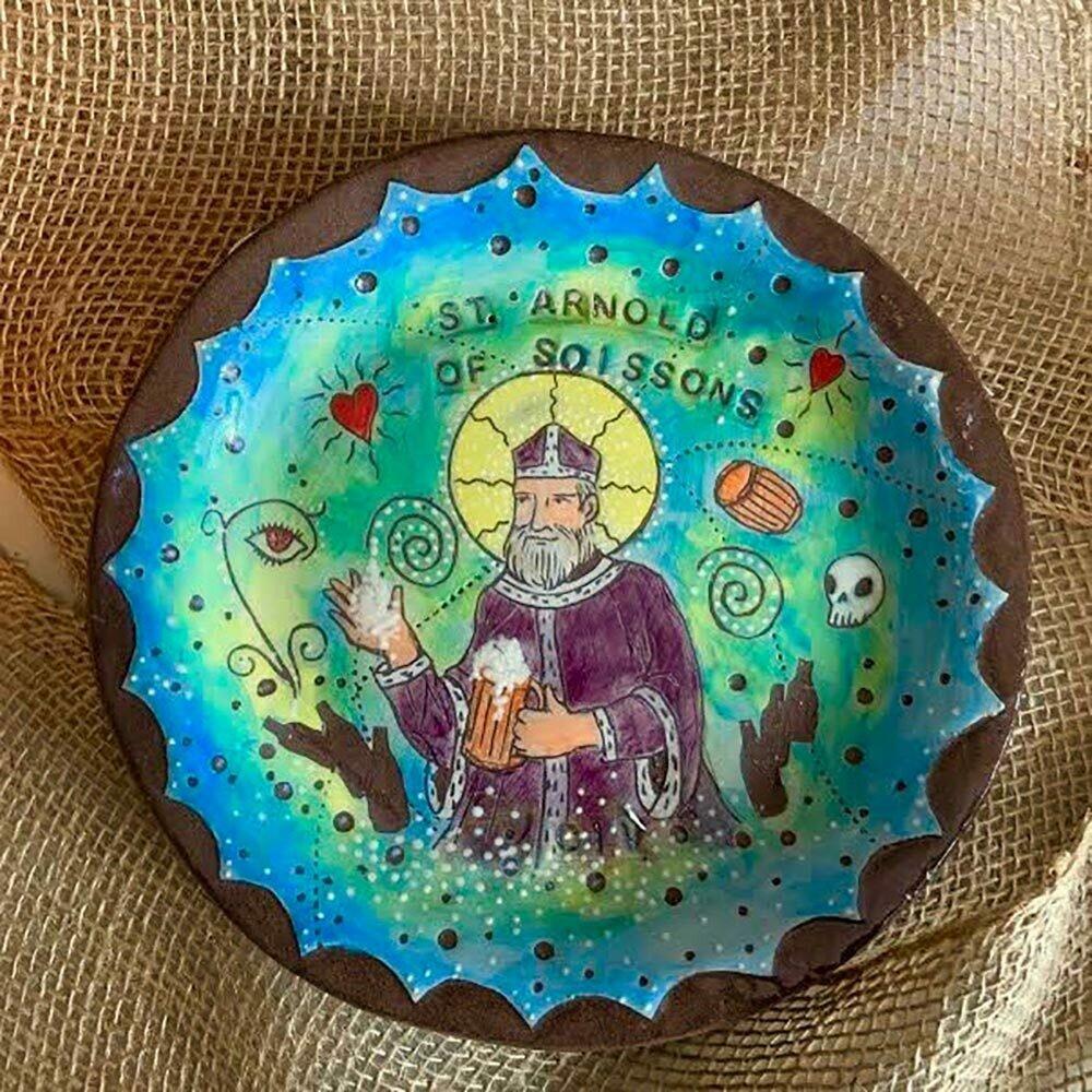 ceramic plate saint by Sandra Civitarese Gabriola Island Artist