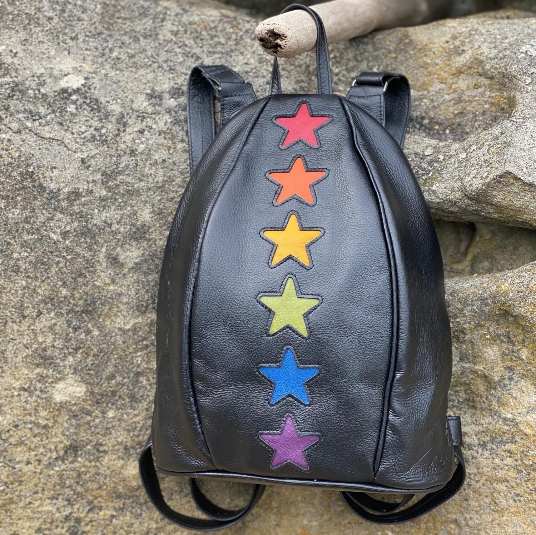 handmade leather backpack with rainbow stars by Anita Jackel Gabriola Island Artist