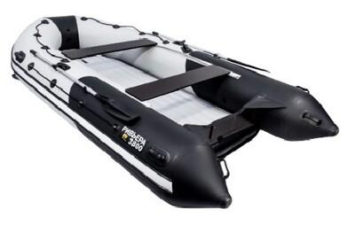 """Лодка Ривьера 3800 Килевое надувное дно """"Комби"""" светло-серый/черный"""