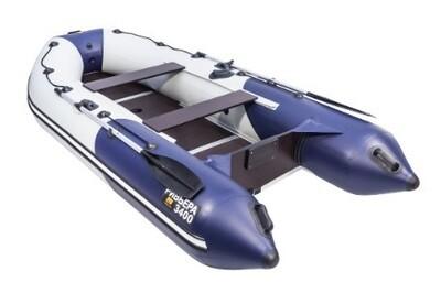 """Лодка Ривьера 3400 Компакт СК """"Комби"""" светло-серый/синий"""
