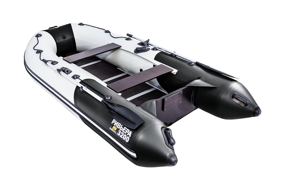 """Лодка Ривьера 3200 Компакт СК """"Комби"""" светло-серый/черный"""