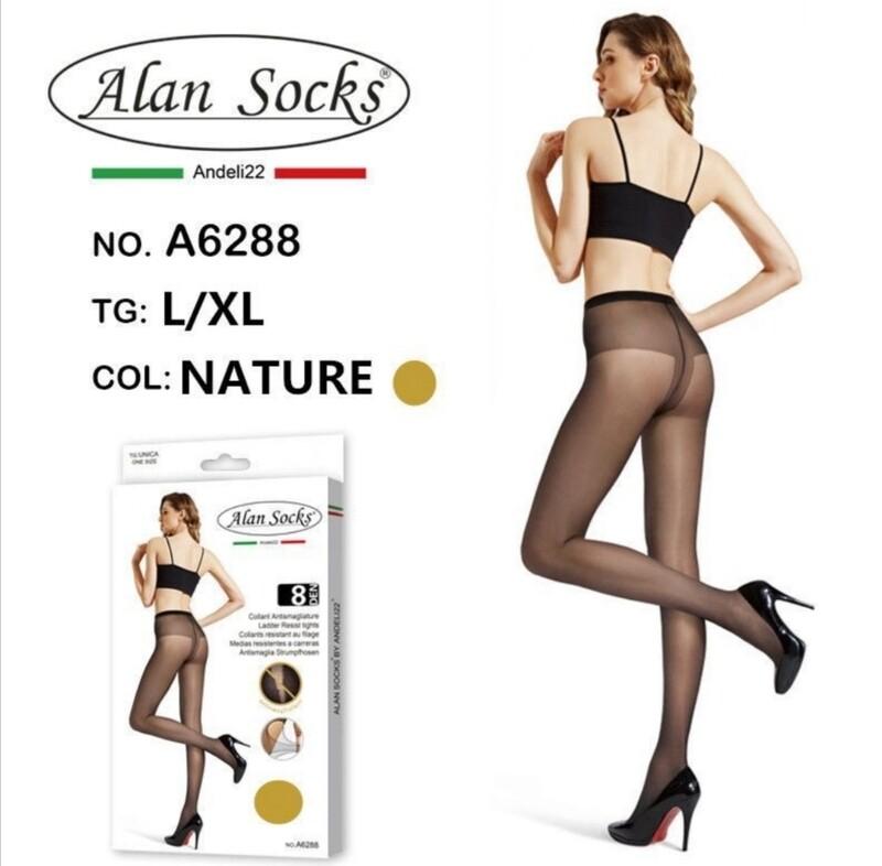 Collant Classico leggero 8 Den - Alan Socks A6288 disp. 2 taglie S/M, L/XL