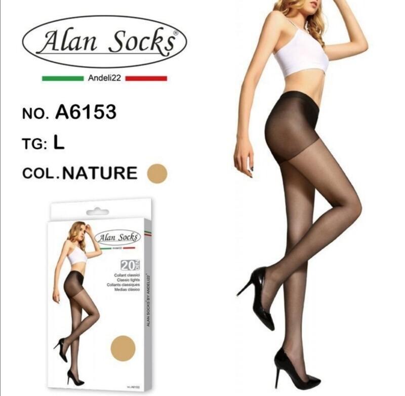 Collant Classico leggero 20 Den - Alan Socks A6153 disp. 4 taglie S, M,L, XL