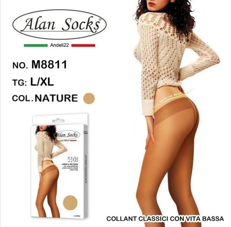 Collant Classico con vita basa 40 Den - Alan Socks M8811 disp. 2 taglie S/M, L/XL