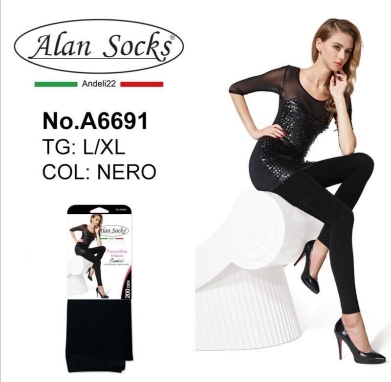 Pantacollant Felpato con cuciture  200 Den - Alan Socks A6691 disp. 2 taglie S/M, L/XL