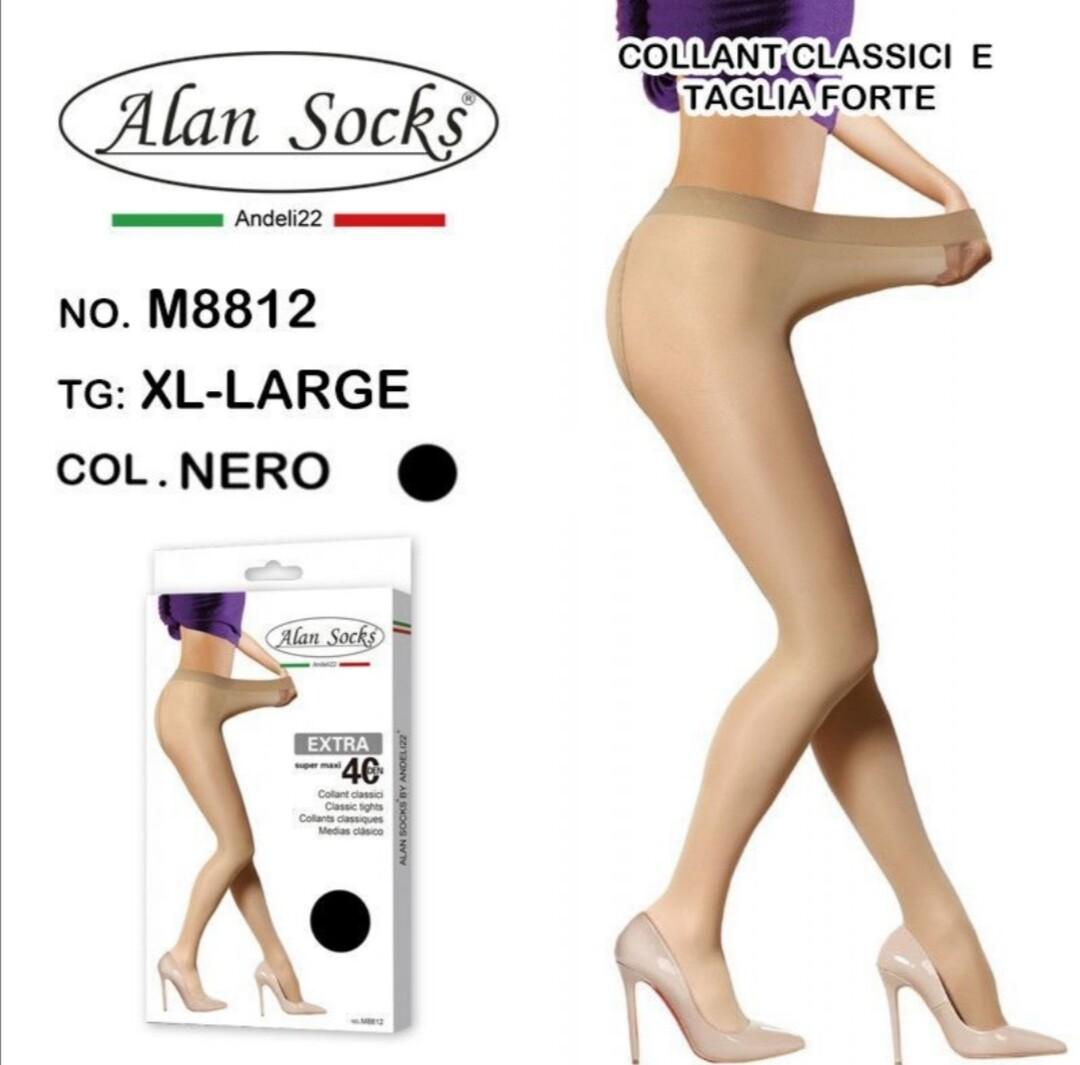 Collant Classico con vita alta 40 Den - Alan Socks M8812 disp. L/XL