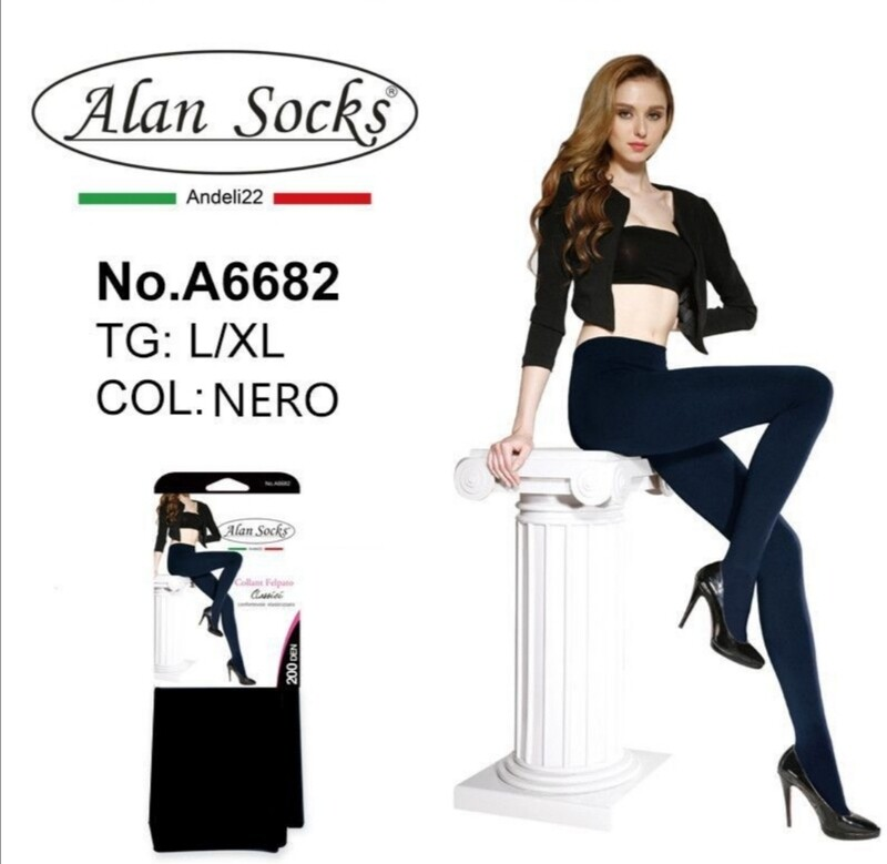 Collant pessante Felpato 200 Den - Alan Socks A6682 disp. 2 taglie S/M, L/XL