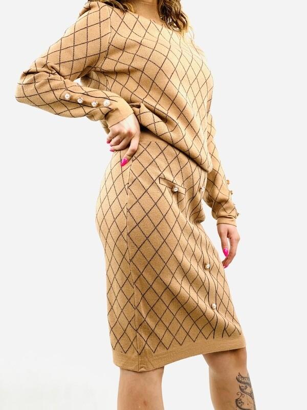 Completo donna maglia e gonna a quadri -AL95177