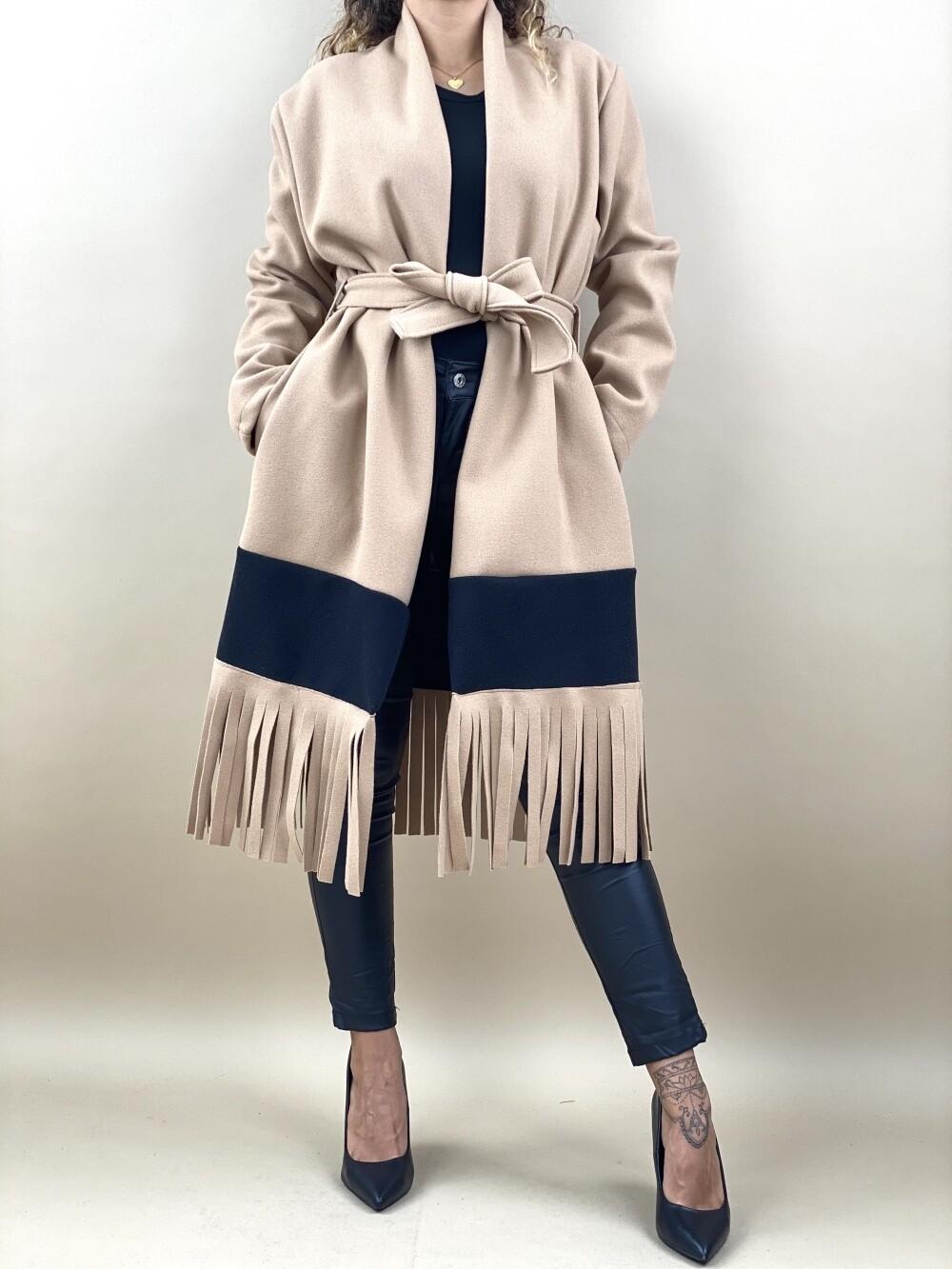 Cappotto con frange bicolore - AJ89395