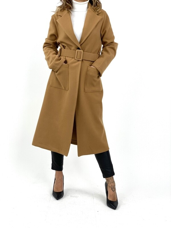 Cappotto lungo con cintura  - CT5169