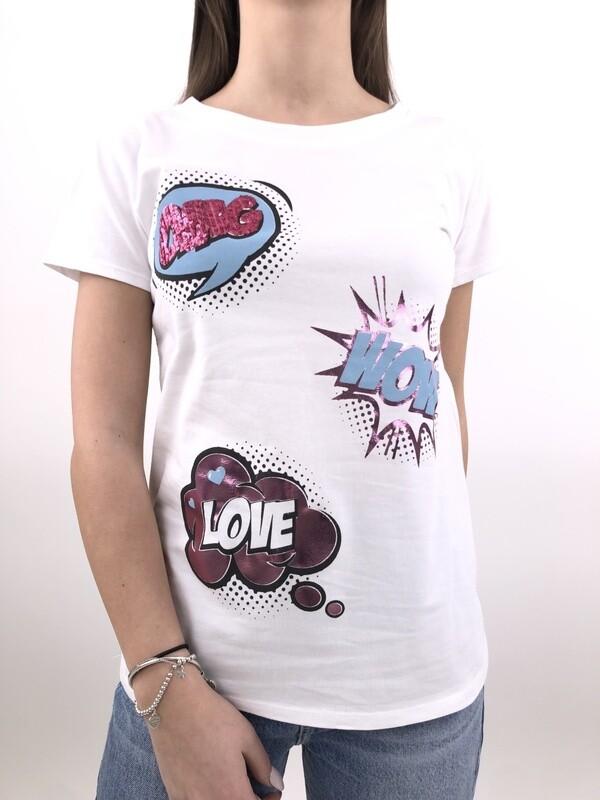 T-Shirt Bianco fantasia