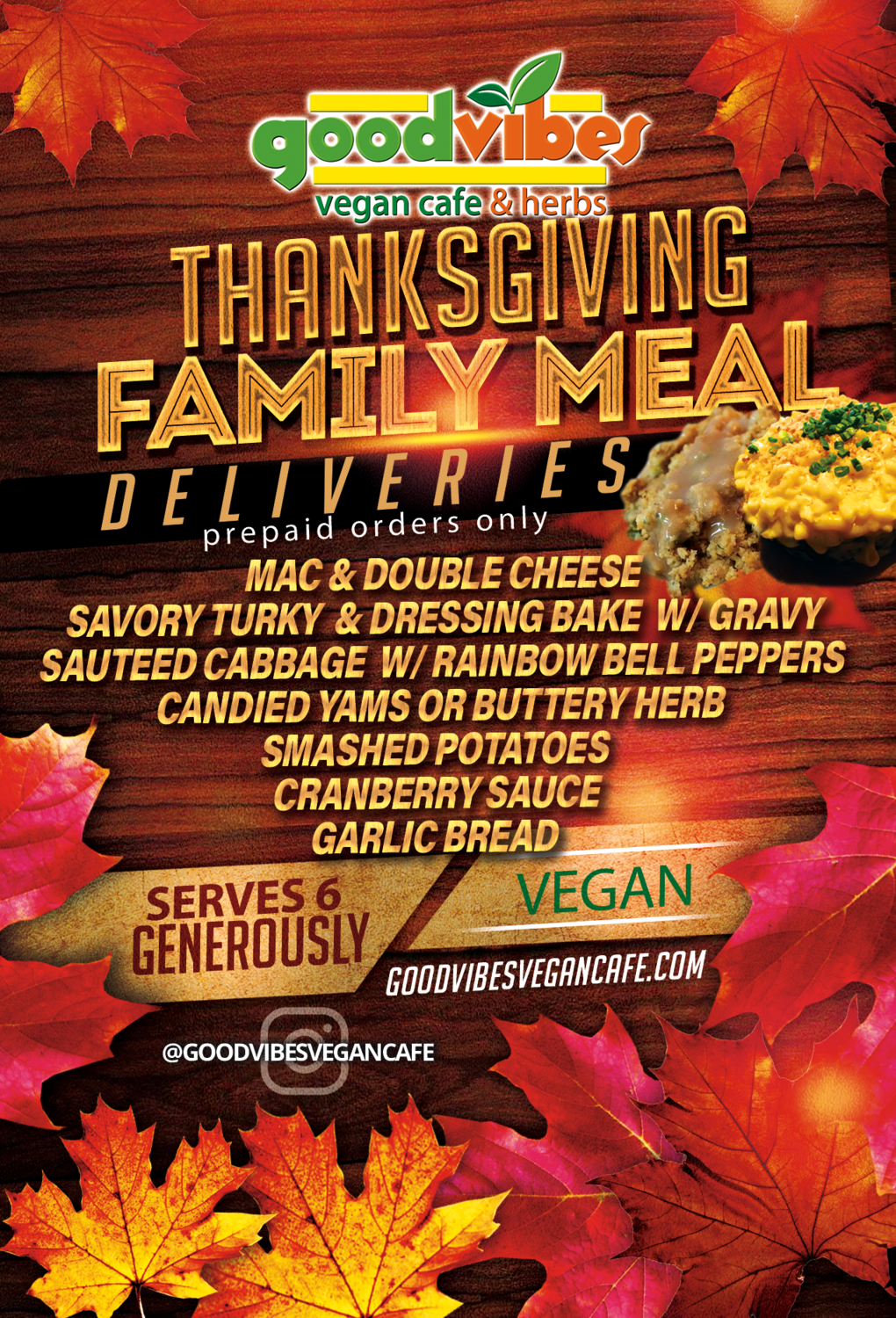 Thanksgiving Family Meal Delivery FRIDAY 11/27