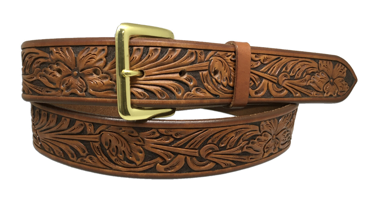 Flower Carved Straight Belt