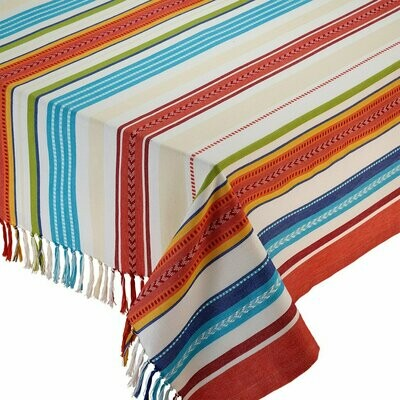 Baja Stripe Fringed Tablecloth - 52 x 52