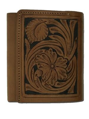 Floral Carve Trifold Wallet