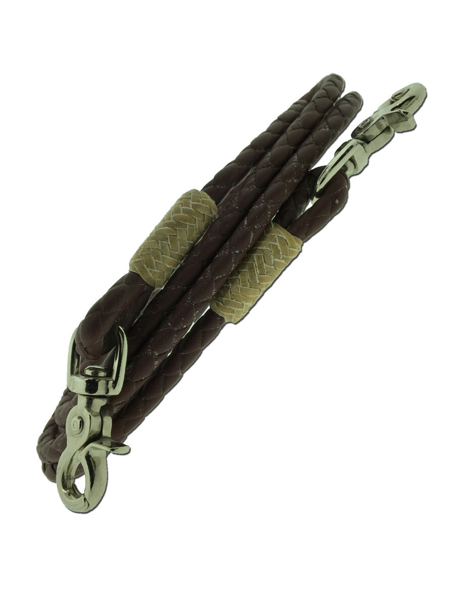 L87 Round Latigo Braided Roping Reins with Rawhide Button at Ends