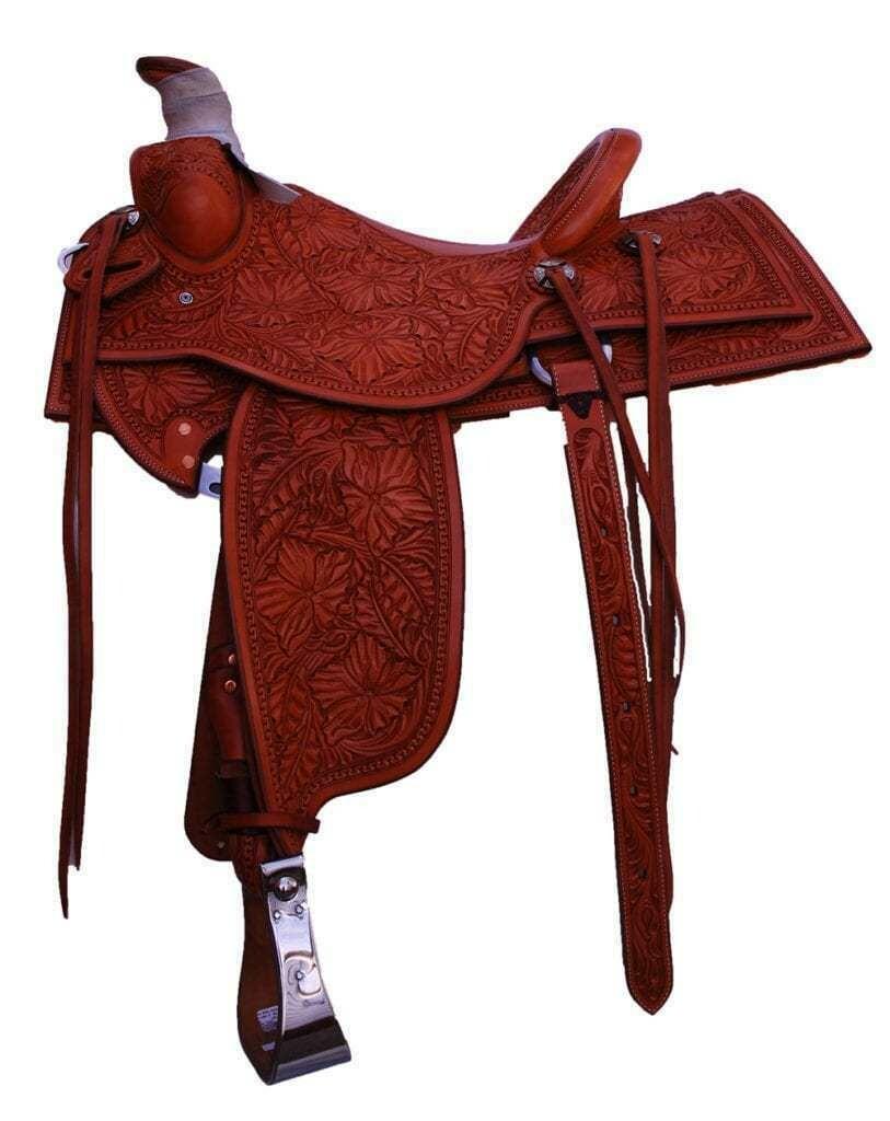 """01-16 16"""" Leuiellen 4"""" Cantle Full Floral Carved Saddle"""