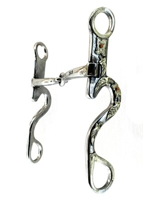 """Floral Snaffle with Dogbone 6 1/4"""" Cheek CP218"""
