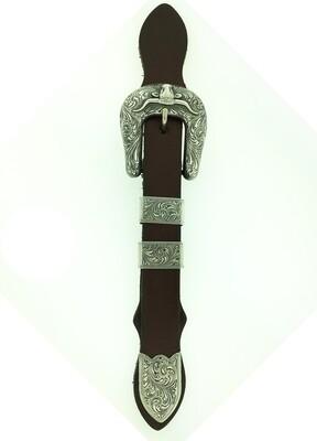 "32-186-5 1"" Sterling Engraved Longhorn Buckle Set"