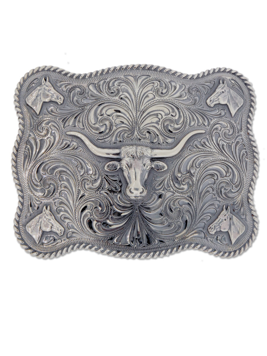 32-171 Scalloped Trophy Buckle w/ Horse Heads and Longhorn