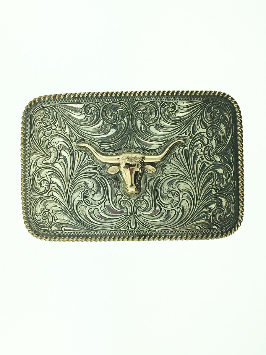 32-515 Trophy Gold Longhorn Buckle with Gold Rope Edge