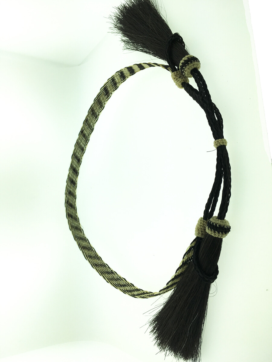Flat Braid Hatband grey & white #1 HH09