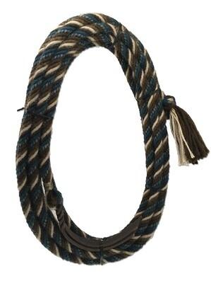"6 Strand Alpaca Mecate 22' x 1/2"" Teal & Brown"