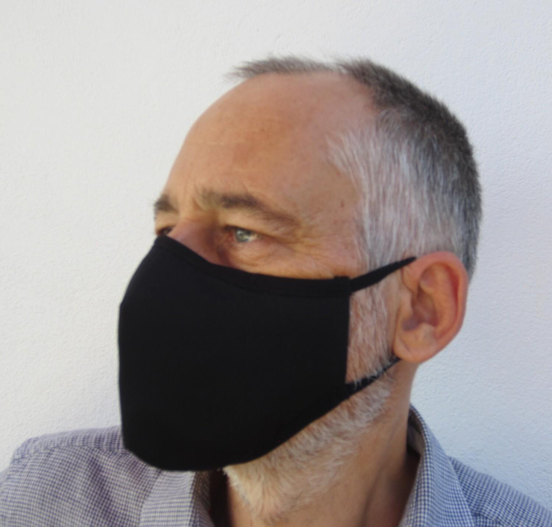 Die Maske, die den Virus SARS-CoV-2 inaktiviert!  SCHWARZ - Niveau 2 - professioneller Gebrauch - Einheitsgröße für Erwachsene - Logoaufdruck ab 100 Stück - OEKO-TEX ® STANDARD 100