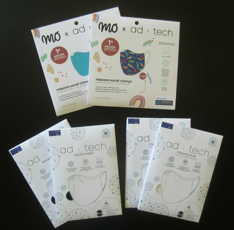 FAMILY PACK - 6 Masken  4 x Erwachsene, 2 x Kinder - Niveau 2 - professioneller Gebrauch - OEKO-TEX ® STANDARD 100